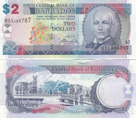 BARBADOS 2 Dollars 2007 (2009) P-66 ( 01-0 ) Sign Worrell