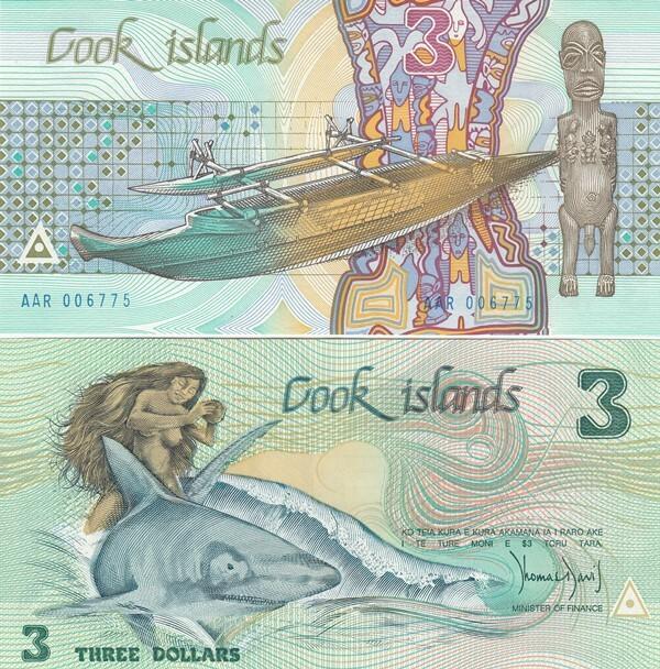 COOK ISLANDS 3 DOLLARS P3 1987 BOAT NAKED INA SHARK