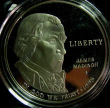 USA 1 Dollar 1993S KM-241 ( PROOF ) JAMES MADISON AND BILL OF RIGHTS