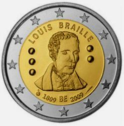 Belgia 2 euro 2009 Louis Braille ( UNC )