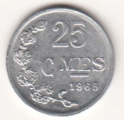 Luxemburg  25 Centimes 1965 KM-45a ( 1+-01 )