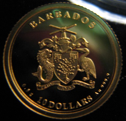 Barbados 10 dollars 2019 First man on the moon ( PROOF ) Au 0,5g 999