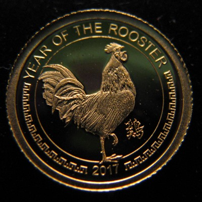 Mongolia 1000 Togrog 2017 Year of the rooster ( PROOF ) Au 0,5g 999