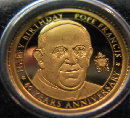 Tansania 1500 Shillings 2016 Pope Francis ( PROOF ) Au 0,5g 999