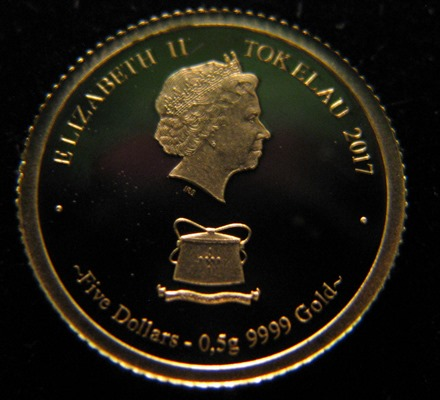 Tokelau 5 Dollars 2017 Brown bear ( PROOF ) Au 0,5g 999