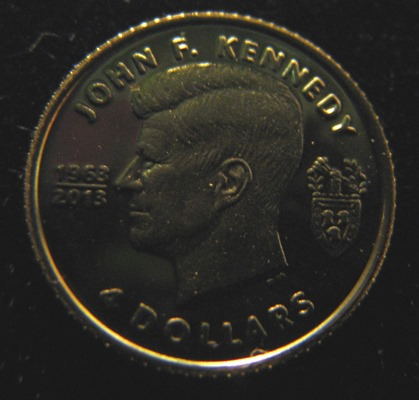 Brittiläiset Neitsytsaaret 4 Dollars 2013 Kennedy ( PROOF ) Au 0,5g 999