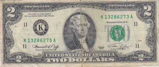 U.S.A 2 Dollars Series 1976 ( 1?-1 )  P-461 No:K13286273A