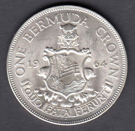 Bermuda 1 Crown 1964 KM-14 ( UNC ) Hopeaa 22,6gr 500/1000
