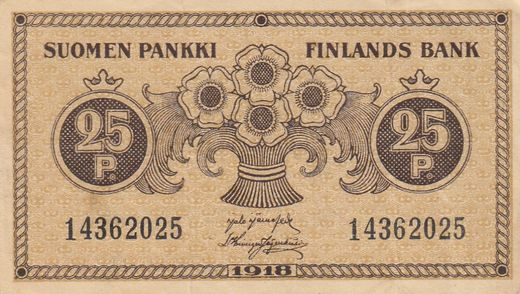 25 Penniä 1918 14362025 ( 1 ) JÄR - His