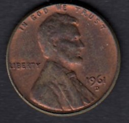 USA 1 Cent 1961 D KM-201 ( 1+ )