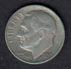 USA 1 Dime 1953 D KM-195 ( 1+ ) Hopeaa