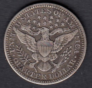USA 1/4 Dollars 1901 KM-114  ( 1-1+ ) Hopeaa 6.25g / 900