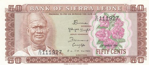 Sierra Leone 50 cents 1984 P-4 ( 01-0 )