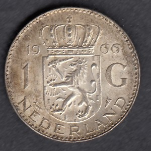 Hollanti 1 Gulden 1966 KM-184 ( 1+ ) Hopeaa 6,5gr / 720