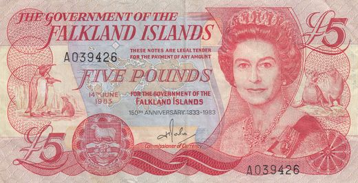 Falklands Islands 5 pounds 1983 P-12 ( 1-1+ )