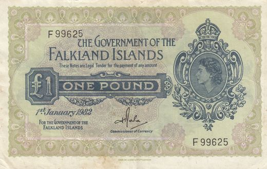 Falklands Islands 1 pound 1982 P-8d ( 1-1+ )