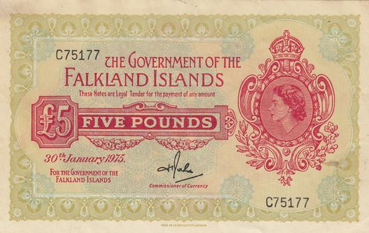 Falklands Islands 5 pounds 1975 P-9b ( 1+ )