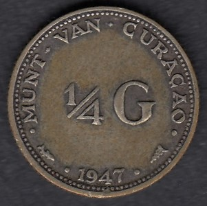Hollannin Antillit (Curaçao) 1/4 Gulden 1947 KM-44 ( 1+ )