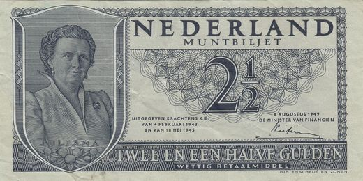 Hollanti 2 1/2 Gulden 1949P-73 ( 1+-01 )