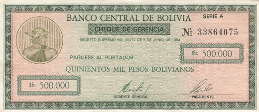 Bolivia 50 Centavos on 500 000 Pesos Bolivianos ND(1987) P-198 ( 1+ )