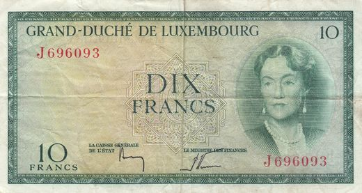 Luxemburg 10 Francs ND(1954) P-48 ( 1-1+ )