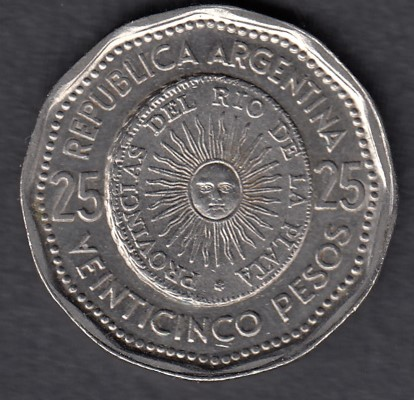 Argentiina 25 Pesos 1965 KM-61 ( 01 ) First National Coin