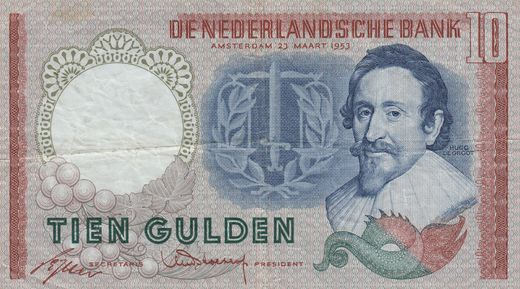 Hollanti 10 Gulden 1953 P-85 ( 1 )