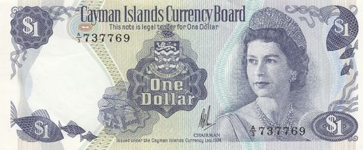Cayman Islands 1 Dollar L.1974 P-5a ( 01-0 )