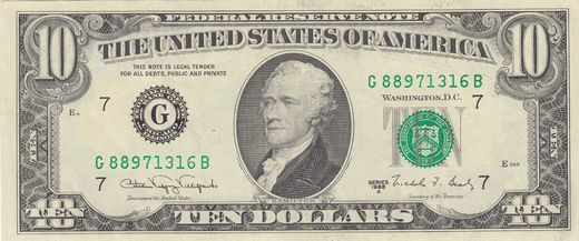 USA 10 Dollars Series 1988 A ( 01)