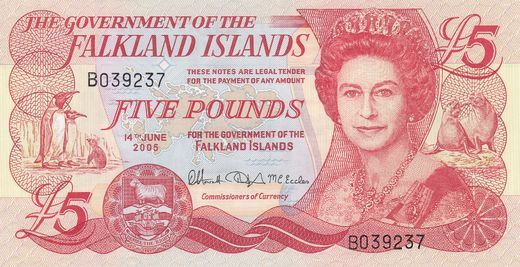 Falklands Islands 5 pounds 2005 P-17 ( 01-0 )