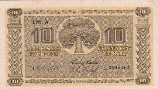 10 Markkaa 1922 Litt-A L0595464 ( 1+ ) HEU-The