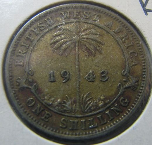 British West Africa 1 Shilling 1943 KM-23 ( 1-1+ )