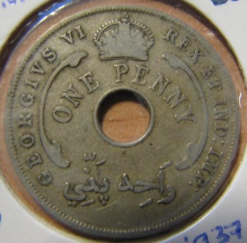British West Africa 1 Penny 1937 KM-19 ( 1+ )